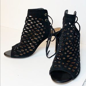 Joie Perforated Suede High Heeled Lace Up Sandal